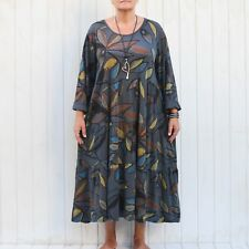 Womens Lagenlook Quirky Cotton Tunic Dress 14 16 18 20 22 24 26 28 30 32 - 9788