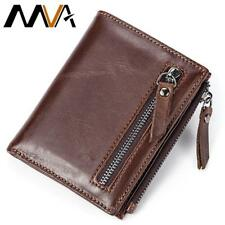MVA Men Wallets Male Purse Genuine Leather Wallet with Coin Pocket Zipper Short
