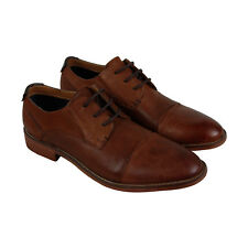 Steve Madden P-Redman Mens Brown Leather Casual Dress Lace Up Oxfords Shoes