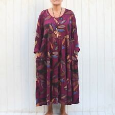 Italian Lagenlook Quirky Cotton Tunic Dress 14 16 18 20 22 24 26 28 30 32 - 9788
