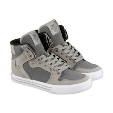 Supra Vaider Mens Gray Leather High Top Lace Up Sneakers Shoes