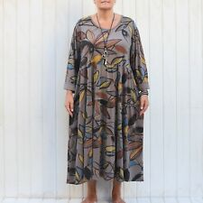 Womens Plus Size Lagenlook Quirky Cotton Tunic Dress 14 16 18 20 22 24 NEW 9788
