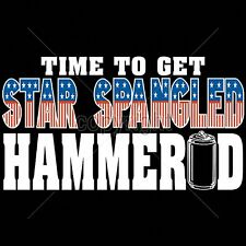 Patriotic T Shirt Star Spangled Hammered Beer Drinking Mens Small to 6XL