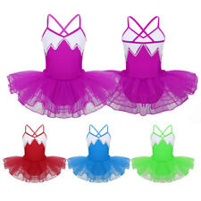 Girls Sequins Ballet Dance Dress Kids Leotard Tutu Skirt Dancewear Party Costume