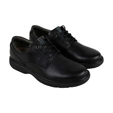 Clarks Cushox Pace Mens Black Leather Casual Dress Lace Up Oxfords Shoes