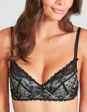 Mimi Holliday Damaris Scarlet Ibis Padded Plunge Bra Black Lace Size 32B NEW