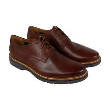 Clarks Newkirk Plain Mens Red Leather Casual Dress Lace Up Oxfords Shoes