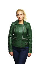 Brandslock Women's Genuine Leather Biker Jacket Fitted Vintage Rock