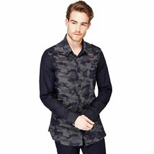 Guess Chemise Homme Manches Longues Camou Jacquard Bleu