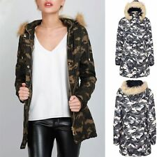 Womens Ladies Faux Fur Hooded Zip Up Pocket Trench Camouflage Print Parka Jacket