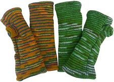 7fb9862ec7e FAIR TRADE WOOL FLECKED COLOUR FLEECE LINED TUBE FINGERLESS GLOVES WRIST  WARMERS