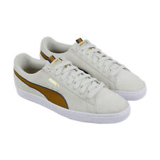 Puma Suede Classic Sport Stripes Mens Beige Suede Lace Up Sneakers Shoes