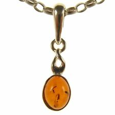 BALTIC AMBER STERLING SILVER 925 OVAL PENDANT NECKLACE SNAKE CHAIN JEWELLERY