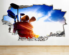 R352 Golf Clubs Bag Hobby Sport Smashed Wall Decal 3D Art Stickers Vinyl Room