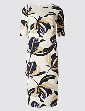 M&S COLLECTION PETITE Ivory mix Floral Print Bodycon midi V-Neck uk size 10