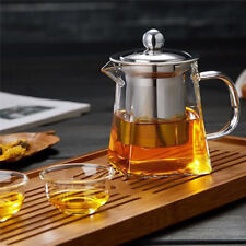 Heat Resistant Clear Glass Square Teapot With Infuser Loose Leaf/Green Tea Pot
