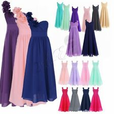 Girls Long Lace Dress Chiffon Gown Floor Length Dress Wedding Bridesmaid Flower