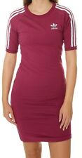 ADIDAS ORIGINALS 3 STRIPES DRESS BODYCON MYSTERY RUBY -BNWT SIZE UK 14,16,18,22