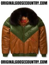 BRAND NEW GOOSE COUNTY V-BOMBER JACKET TWO-TONE BROWN/GREEN WITH FOX COLLAR