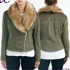 NEW Womens Faux Fur BIKER JACKET Crop FAUX LEATHER Ladies ZIP Size 8-16