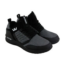 Supra Method Mens Black Textile High Top Lace Up Sneakers Shoes
