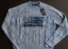 Ralph Lauren Polo Cable Knit US Flag Sweater Cotton Pullover Jumper Men M NWT