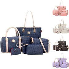 6PC Set Women Shoulder Bag PU Leather Purse Tote Handbag Crossbody Messenger Bag