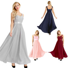 Women Lace-up Back Chiffon Formal Evening Party Ball Gown Prom Bridesmaid Dress
