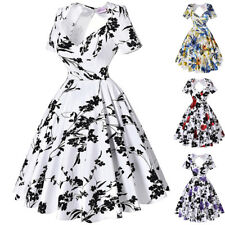 Dress Prom Pinup Cocktail Floral Retro Vintage Womens Party Swing Hollowed Back