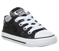Kids Converse Allstar Low Infant Trainers Black Silver Glitter Kids