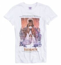 Official Women's Labyrinth Illustrated Movie Poster White Boyfriend Fit Rolled S