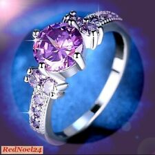 Royal Petite Solitaire Purple Amethyst 925 Silver Stamp Ring Size 5/6/7/8/10/11
