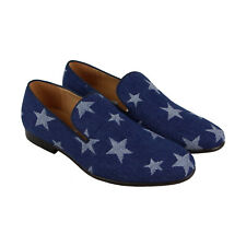 Steve Madden P-Mural Mens Blue Textile Casual Dress Slip On Loafers Shoes