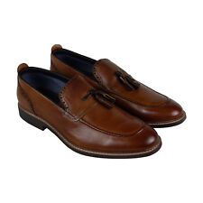 Steve Madden Beecher Mens Brown Leather Casual Dress Slip On Loafers Shoes