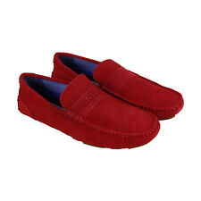 Steve Madden Upswing Mens Red Suede Casual Dress Slip On Loafers Shoes