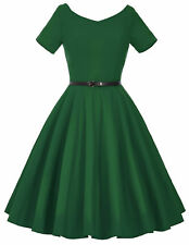 Dress Evening Pinup Cocktail Sleeve Retro Vintage Womens Party Swing 50s Short