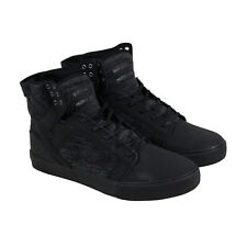 Supra Skytop Mens Black Nubuck & Textile High Top Lace Up Sneakers Shoes