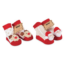 275dce8a39df Mud Pie MH6 Christmas Baby Girl Santa Or Reindeer Plush Rattle Toe Socks  1542196