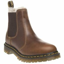 New Womens Dr. Martens Tan Brown Leonore Leather Boots Ankle Elasticated Pull On