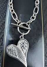 Ladies Chunky Steel Heart Angel Wing Pendant T Bar Necklace VALENTINES GIFT
