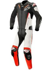 Alpinestars Black-White-Red-Fluorescent Atem V3 Two Piece Motorcycle Leather Sui