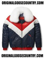 BRAND NEW GOOSE COUNTRY V-BOMBER JACKET RED/WHITE/BLUE WITH FOX COLLAR