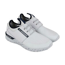 Supra Flow Run Mens White Leather & Textile Athletic Lace Up Training Shoes