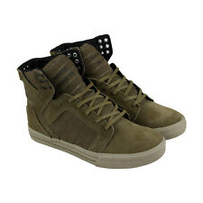 Supra Skytop Mens Green Suede High Top Lace Up Sneakers Shoes