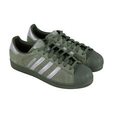 huge discount 66173 9356f Adidas Super Star Mens Green Suede Lace Up Sneakers Shoes