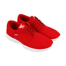 Supra Hammer Run Mens Red Mesh Athletic Lace Up Running Shoes