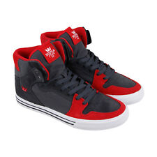 Supra Vaider Mens Gray Suede & Canvas High Top Lace Up Sneakers Shoes