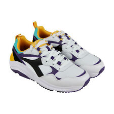 Diadora Whizz Run Mens White Leather & Mesh Athletic Lace Up Training Shoes