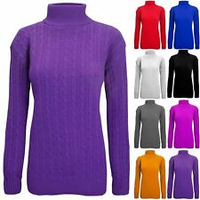 Womens Ladies Chunky Cable Knit Long Sleeve Turtle Polo High Neck Sweater Jumper