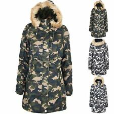 Womens Ladies Parka Camouflage Print Zip Up Pocket Trench Faux Fur Hooded Jacket